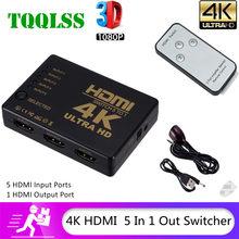 TQQLSS Switch HDMI a 5 porte 3D 1080p 4k selettore Splitter Hub con telecomando IR per HDTV DVD BOX Switcher HDMI 5 In 1 Out