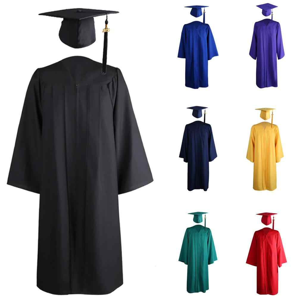 2020 Adult University Academic Graduation Gown Robe Mortarboard Cap Charm Welcom