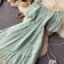 Fairy Chic Gentle Wind Dress Female 2021 New Style Sweet Daisy Printed Mesh Long Floral Dress Female