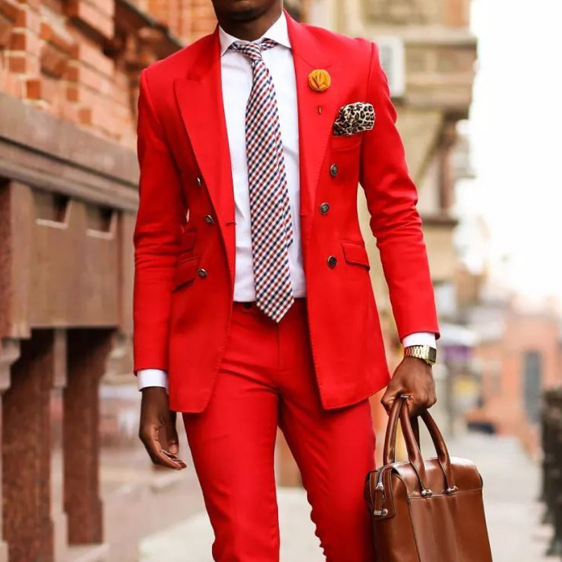 Red Casual Suits For Mens Fashion Double Breasted 2 Piece Peaked Lapel Male Wedding Tuxedos Set Jacket With Pants Latest Design