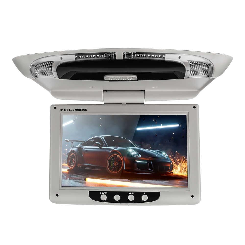 9 ''سقف جبل عرض الوسائط المتعددة TFT LCD سيارة شاشات الفيديو المدخلات راديو الوجه أسفل AV مراقب لسيارة الصوت أندرويد مشغل ديفيدي