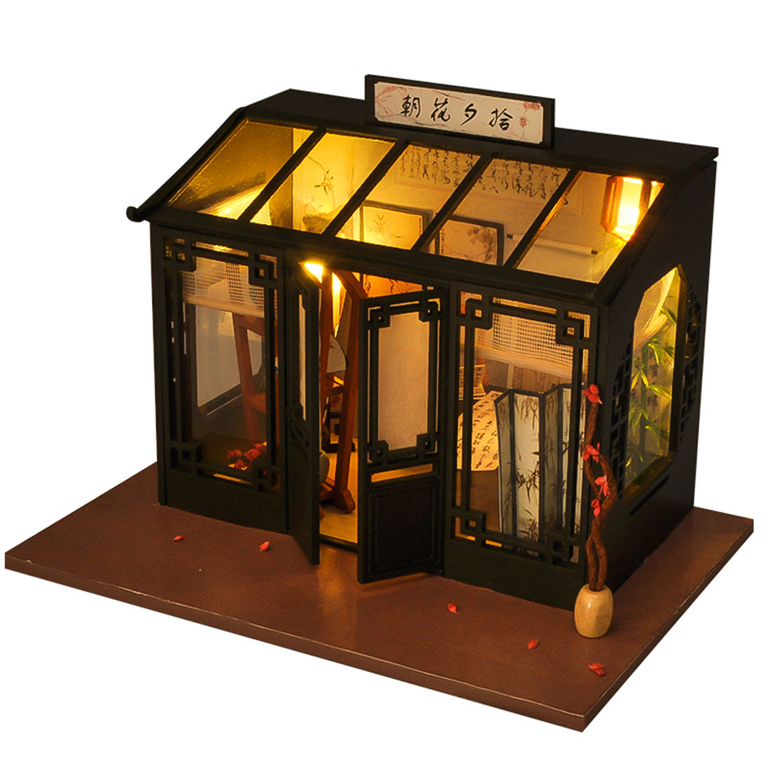 6 Style Kids DIY Creative Handmade Wooden Cabin Assembly Building Model Doll House Toy Set with Light Christmas Birthday Gift in Doll Houses from Toys Hobbies