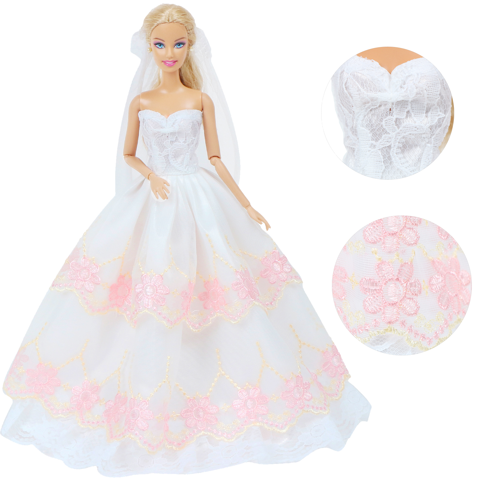 Handmade Fashion Doll Dress Dancing Party Bride Wear White Gown + Lace Veil Clothes For Barbie Doll Accessories Kid Toy