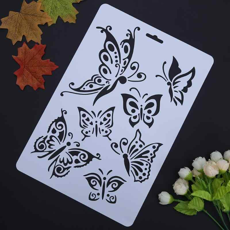 New Scrapbooking Paper Cards DIY Hollow Butterfly Grape Stencils Templates Painting Album Stencils Ruler School Office Supplies