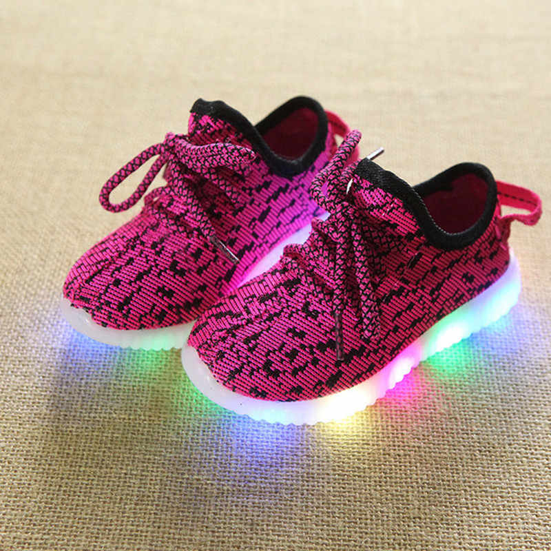 Children's Luminous Sneakers Girls Lighted Casual Shoes For Kids LED Glowing Shoes Autumn Fashion Mesh Boys Sport Running Shoe