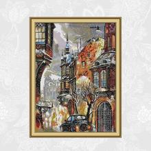 Joy Sunady Snow in the City Embroidery Set, Hand Made Crafts Home Decor, Count Print On Canvas DMC 14CT 11CT Cross Stitch kits