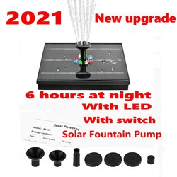 Solar Fountain Pump,Long Standby Time, Night Work, 4W Power,With LED,Floating Bird Bath,Water Panel ,Garden Pond Pool