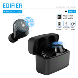 EDIFIER TWS 5 Bluetooth V5.0 TWS наушники aptX декодирование аудио IPX5 Водонепроницаемый сенсорный контроль до 32 часов воспроизведения беспроводные наушни...