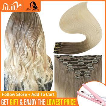 Pełny połysk klip w doczepy z ludzkich włosów kolor Ombre 7 sztuk 100g 100 pasma z ludzkich włosów do wpinania w barwione podwójne pasma maszyna Remy włosy tanie i dobre opinie Full Shine Maszyna Stworzona Remy CN (pochodzenie) CP-7Pcs-100g-Ombre 7 sztuk zestaw Ombre Color Brazilian Hair Darker Color Only