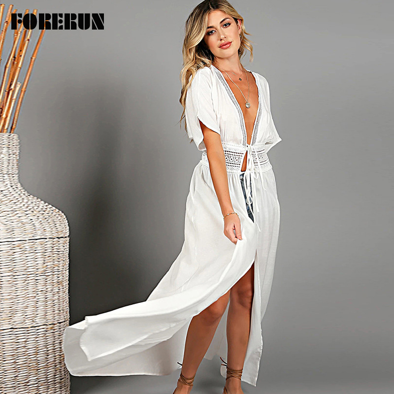 Forerun Long Kimono Cardigan White Beach Dress Women Tunic Summer Long Swimsuit Cover Up Wrap Pareo Beachwear Vestido De Playa Cover Up Aliexpress