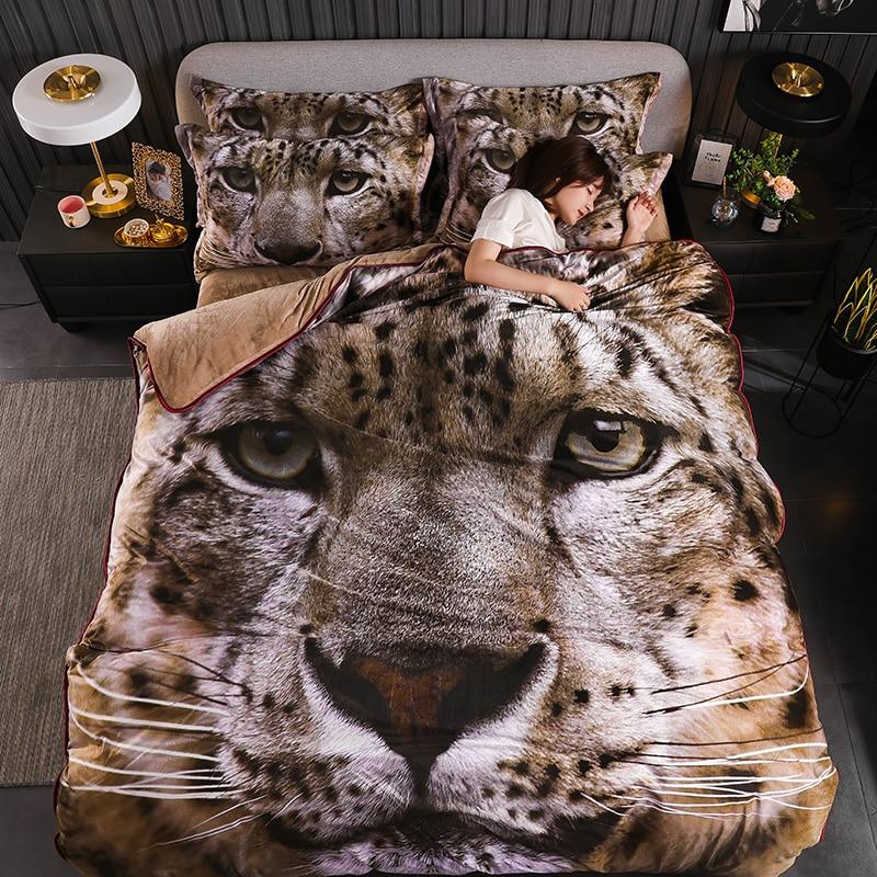 Luxury 3D Tiger Leopard Flowers Peacock Printing Winter Fleece Fabric Bedding Set Flannel Duvet Cover Bed Skirt/Sheet Pillowcase