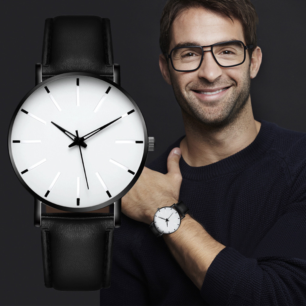 Men Luxury Watches Quartz Stainless Steel Dial Casual Bracele Watch Round Simplicity Leather Strap Wristwatches Clock Montre