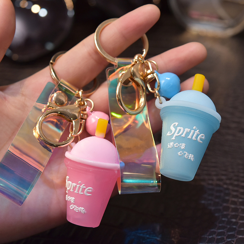 Silicone Soda Ice Red Tea Cup Key Chain Pendant Small Gift Bag Hanging Ornaments Student Couple Bag Hanging Jewelry K2349