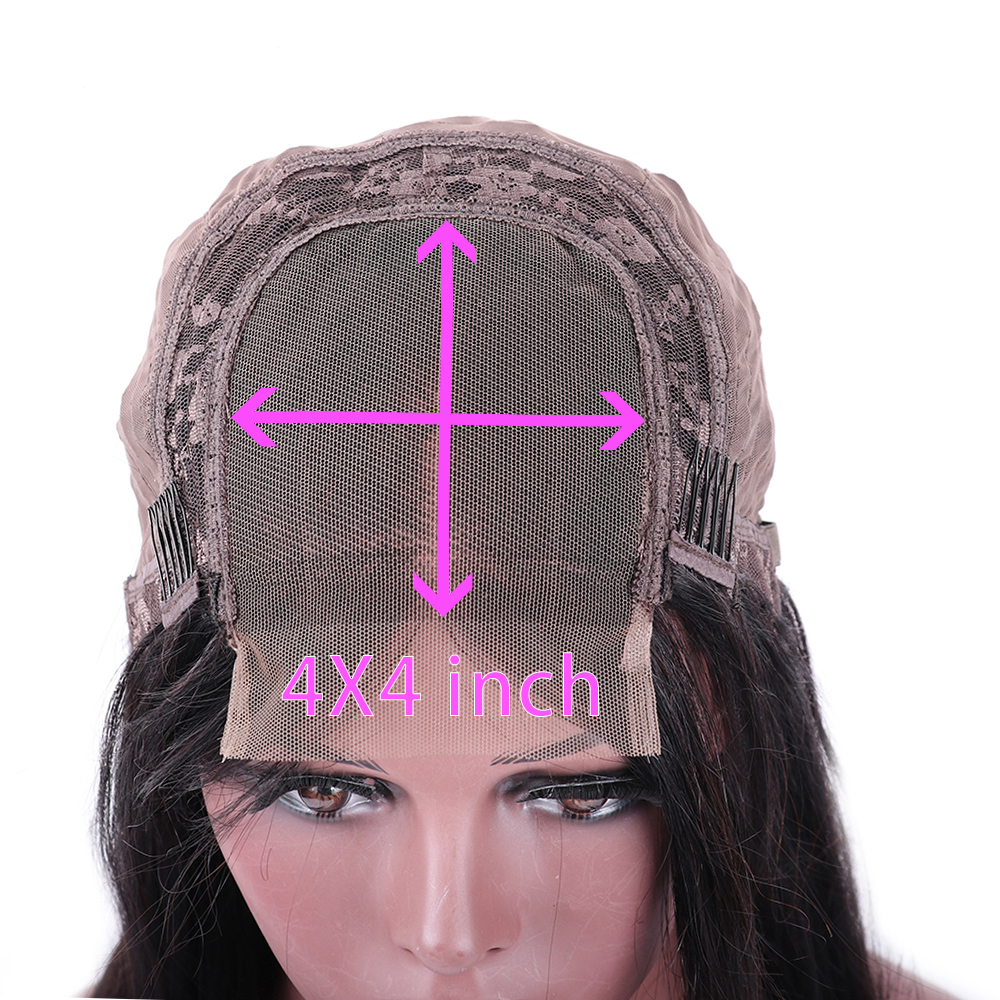 H5f799a15decc4b96b7c85a0160df0185J Sterly 4x4 Lace Closure Wig Remy Hair Straight Lace Wig Brazilian Lace Closure Human Hair Wigs For Black Women