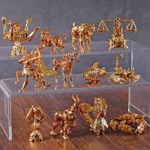 Image 2 - Saint Seiya figuras para escritorio del zodiaco dorado, Mini figuras para escritorio, juguetes Brinquedo, 12 unidades