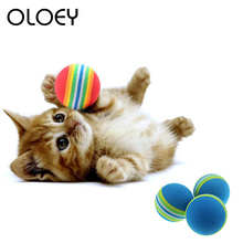 Rainbow Cat Ball Toys for Pet Interactive Playing Chew Toy Rattle Scratch EVA Training Product
