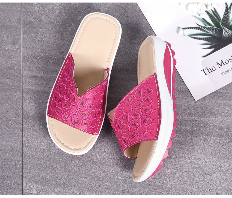 AH 1975-2020 Genuine Leather Womens Flat Slides Casual Hollows Summer Beach Flip Flops-3