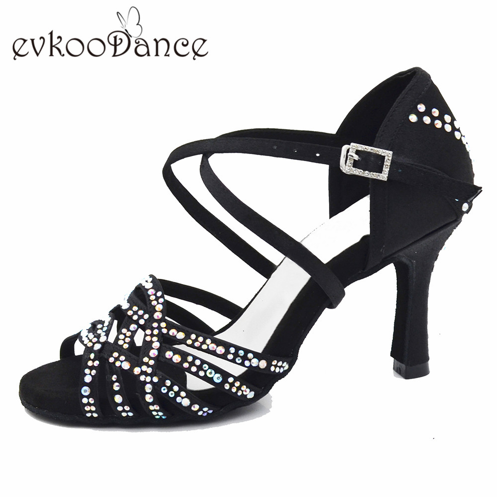 Evkoodance Zapatos De Baile Professiona Black Lady Dancing Shoes High Heel Salsa Latin Ballroom Dance Shoes For Women Evkoo-551