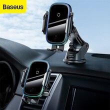 Baseus titular do telefone do carro 15w qi carregador de carro sem fio duplo modo inteligente montagem carro para tomada ar sem fio telefone do carro titular