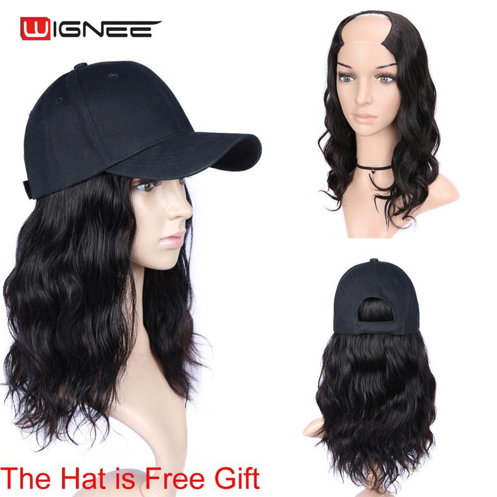 Wignee Natural Wave U Part Short Human Hair Wigs For Black Women 150% Density Remy Brazilian Hair Glueless Half Wig Human Hair