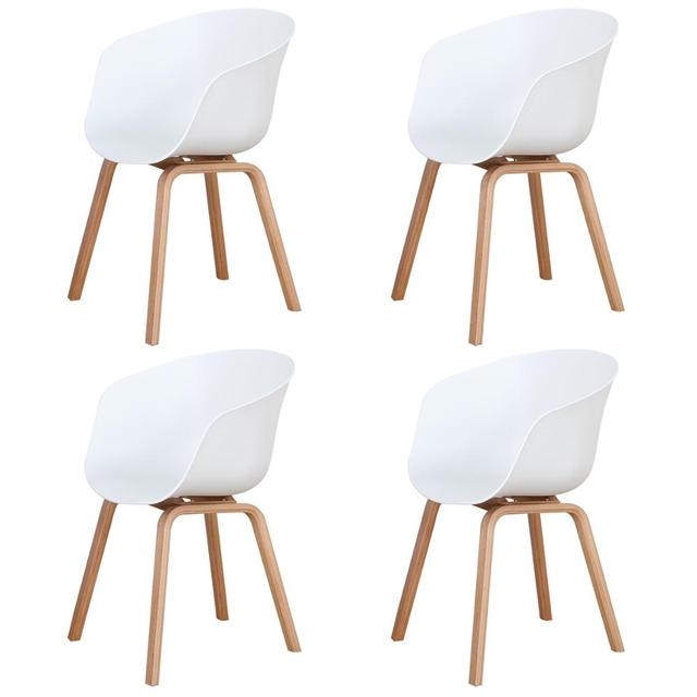 A set of 4 Modern Dining Chairs, Retro-Designed Armchairs, High-Quality Wooden Legs, Suit for Dining Room Kitchen
