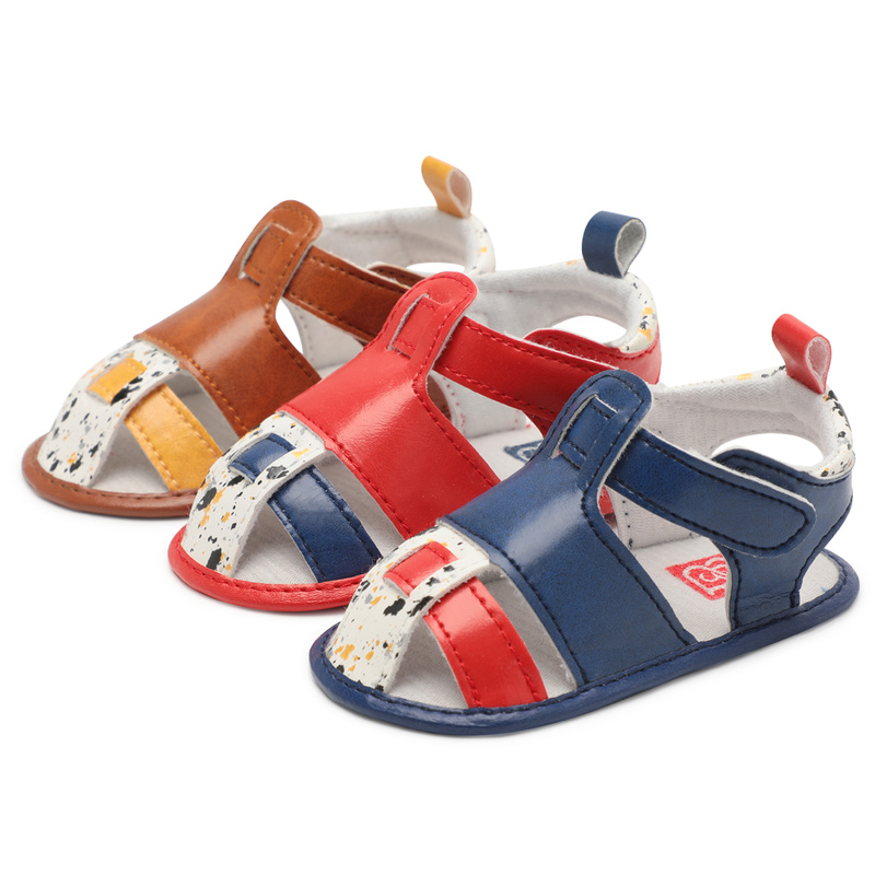 Infant Unisex Baby Girl Boy Sandals Toddler Flats Sandal Soft Anti-Slip Cotton Sole Colorful PU Summer Crib First Walker Shoes