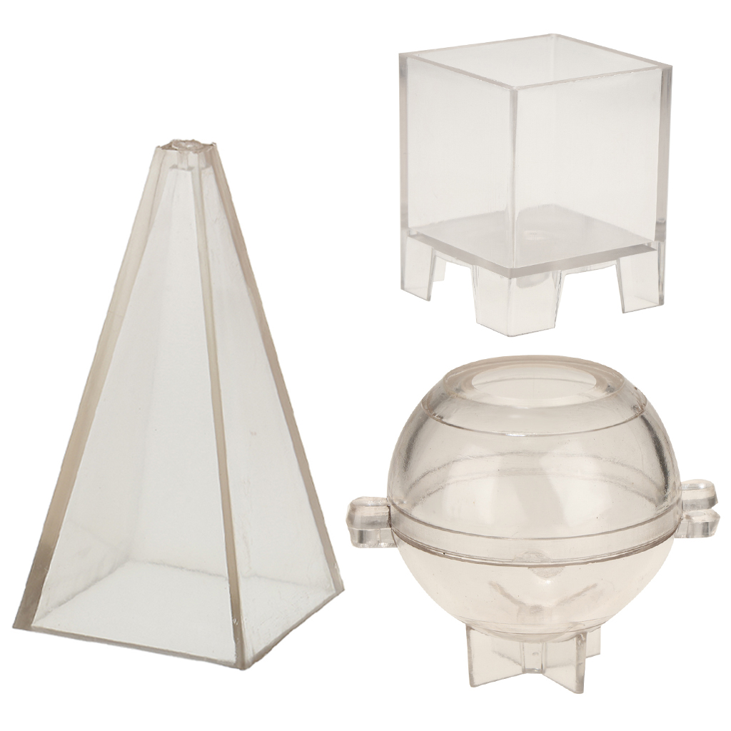 3x Candle Molds For Candle Making Plastic Candle Making Kit Sphere Ball Pyramid Cube Mold Candle Making Molds