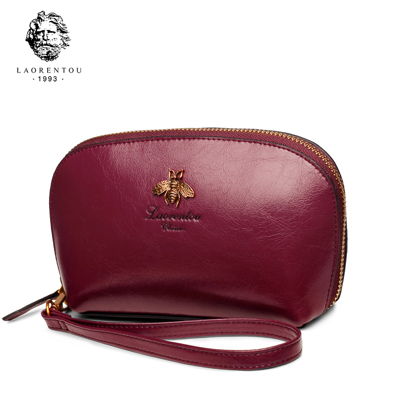 LAORENTOU Brand New Women Clutch Wallets Chic Cowhide Leather Lady Cosmetic Clutch Bag Fashion Multiple Colors Clutch Wallet