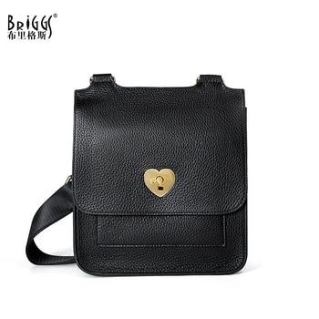 BRIGGS Fashion Shoulder bag Soft Genuine Leather Luxury Handbags Women Bags Designer Leather Small Messenger Bags for women 2019
