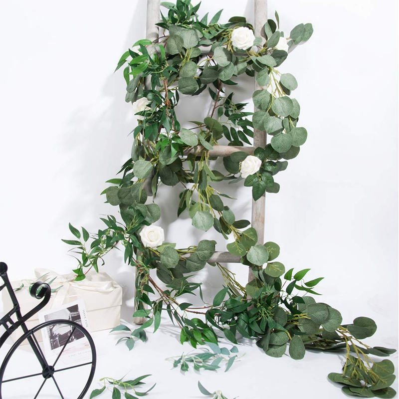 ELEG-6.5-Foot Artificial Eucalyptus Garland And 6-Foot Willow Vine Branches Leaf Garland String Door Green Garland Indoor And Ou