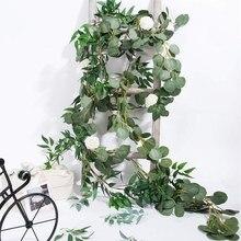 ELEG-6.5-Foot artificial eucalipto guirlanda e 6-pé salgueiro videira ramos folha guirlanda corda porta verde guirlanda interior e ou