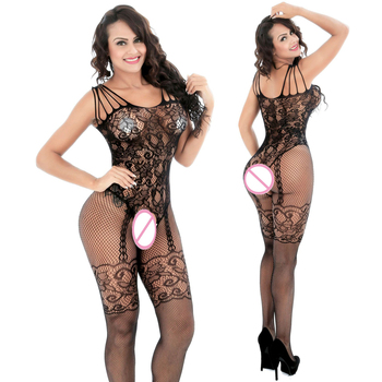 Lace Long Sleeve Fishnet Open Crotch Bodystocking Women Lingerie Sexy Hot Erotic Sheer Body Suit Sexy Latex Catsuit  Plus Size women sexy open crotch bodysuit sheer lingerie double zipper fetish catsuit body transparent bodystocking sexy hot erotic suit