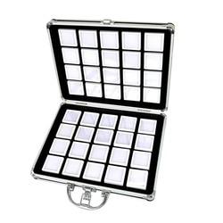 Aluminium Legierung Box-Edelstein Jar Schaum Einsatz Tablett Schmuck Display Organizer Edelsteine Perlen Lagerung Fall