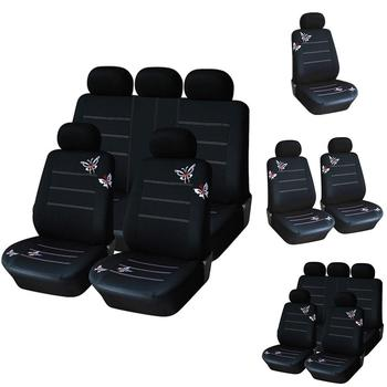 Universal Breathable Butterfly Embroidered Car Seat Cover Cushions Protectors image