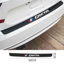 Para hyundai ix25 creta i30 tucson sonata solaris acessórios do carro de fibra carbono traseiro tronco guarda protegido adesivos couro