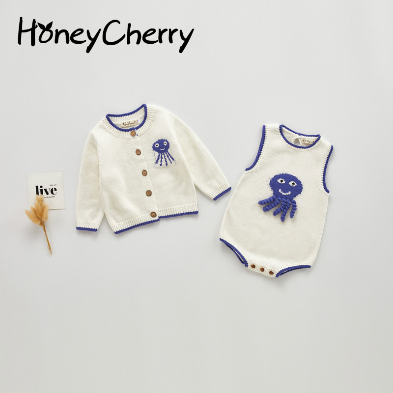 Baby Girl Cardigan Infant Coat Baby Girl Cartoon Octopus Strap Romper Climbing Clothes  Baby Girl Clothes