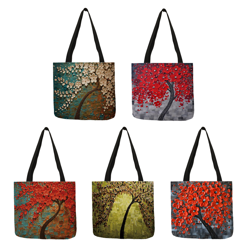 Customized Cherry Blossom Oil Paint Tote Bag For Women Lady Elegant Handbags Reusable Linen Shopping Bags Double Side Print