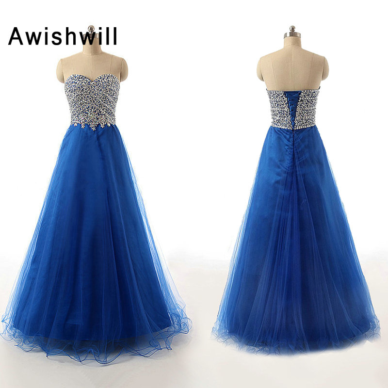 Custom-made Sweetheart Crystal Beaded   Prom     Dress   Long A-line Lace-up Back Floor Length African Formal   Prom   Gown Evening   Dress