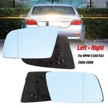 Links & Rechts Blaue Beheizte Elektrische Weitwinkel Flügel Spiegel Glas Für BMW 5 E60 E61 2003 2004 2005 2006 2007 2008