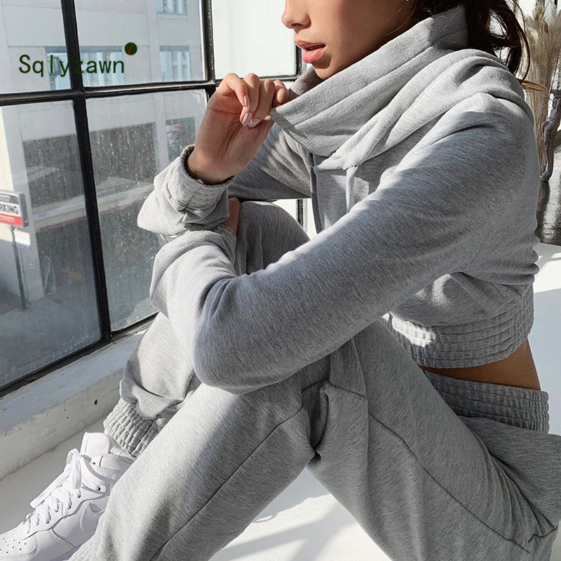 Women Tracksuit  Crop Tops Solid Color High Hooded Collar Pullover And Casual Harem Trousers Womens 2 Piece Sets 2019 Sweatsuit