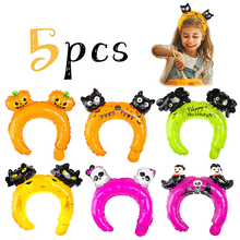 5pcs Halloween party decoration Headwear Headband balloons kids toy birthday party decor black cat bat decor Halloween decor(China)