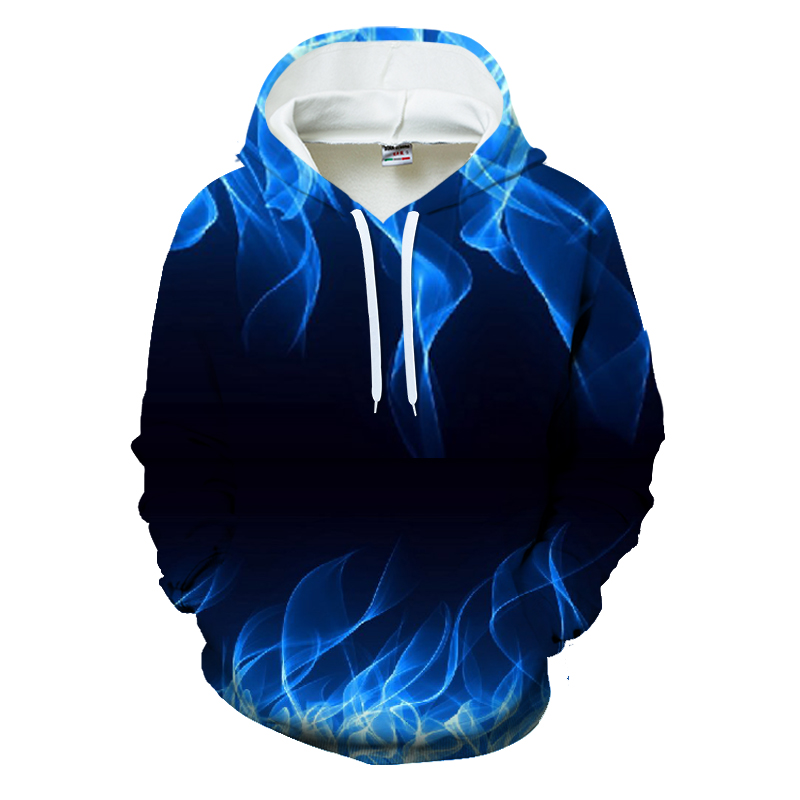 New Casual Blue Flame Printed Blue Flame Printed Hoodies Mens Spring Long Sleeve Pullover For Male Tracksuit Homme Jacket