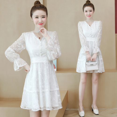 Korean Lace V Neck Summer Dress Brief A line Casual Women Dresses Flarre Sleeve Fashion Loose Vintage White Dress