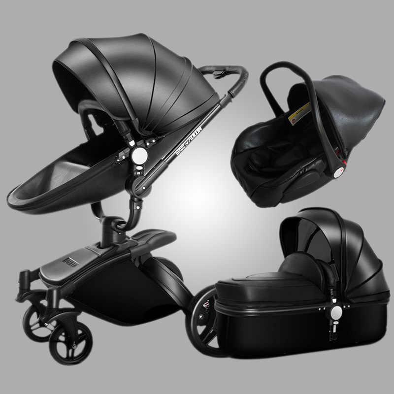 Aulon รถเข็นเด็ก 3 ใน 1 รถเข็นเด็กทารก PU หนังสามารถนั่งและนอน Four Seasons ฤดูหนาวจัดส่งฟรีทั่วโลก