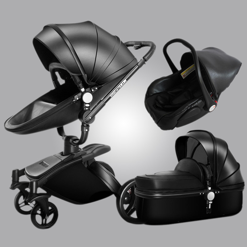 Aulon Baby Stroller 3 In 1  Baby Stroller Pu Leather Can Sit And Lie Four Seasons Winter Free Shipping Worldwide