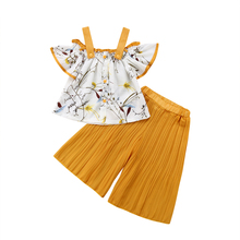 Stylish Kids Baby Girls Strap Floral Tops Loose Pants Outfits 2pcs Set Clothes For Age 1-6Y