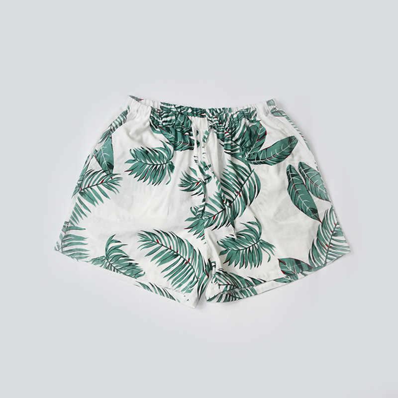 여성 수면 짧은 바지 코튼 거즈 잠옷 여름 홈 비치 바지 라운지 잠옷 느슨한 대형 인쇄