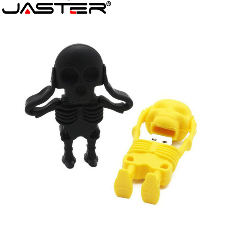 JASTER Capacity USB Flash Drives 8GB 16GB 32GB 64GB 128GB New Arrival Fashion Creative Skull Flash Drive Memory Stick Pen Drive