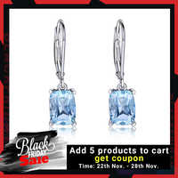 UMCHO Genuine 925 Sterling Silver Sky Blue Topaz Drop Earrings Elegant Gemstone Wedding Engagement Jewelry For Women Gifts