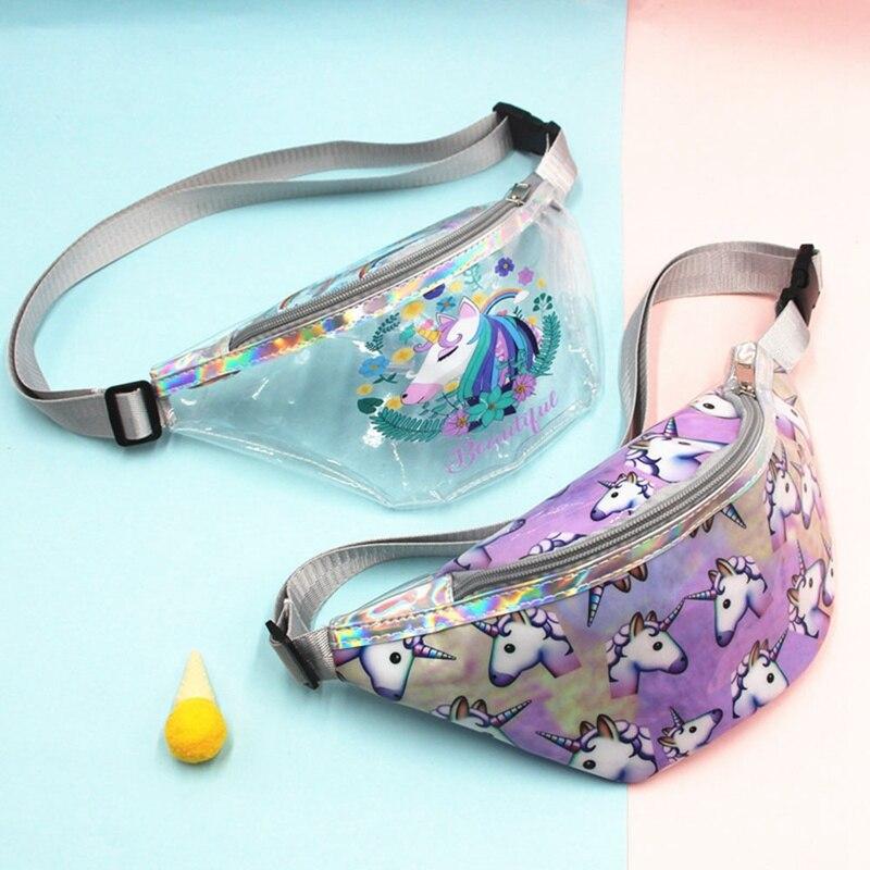 Lovely Waterproof Transparent Unicorn Waist Pack Bum Belt Bag Flamingo Cartoon Travel Pack Coin Bags